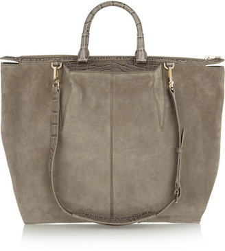 Alexander Wang Small Liner suede and croc-effect leather tote