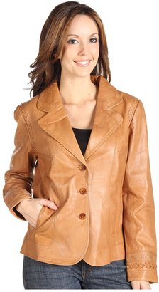 Scully Ladies Lamskin Blazer with Criss Cross Stitch Accents (Cognac) - Apparel