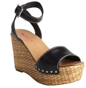 Prada Sport black leather ankle strap basketweave wedges
