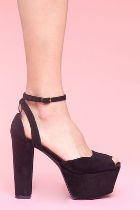Nasty Gal Perfect Platform - Black Suede