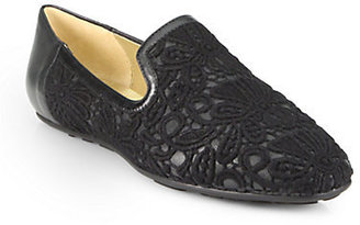 Jimmy Choo Wheel Lace-Covered Leather Smoking Slippers