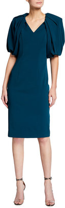 Badgley Mischka Pleated Elbow-Sleeve Crepe Sheath Dress