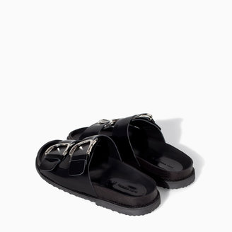 Zara Leather Sandal With Buckles
