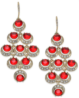 Charter Club Gold-Tone Red Stone Kite Chandelier Earrings