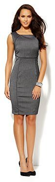 New York & Co. 7th Avenue Suiting Collection Piped Sheath Dress - Charcoal