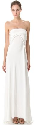 Donna Karan Bustier Evening Gown with Cascading Folded Back