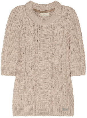 Burberry Cropped cable-knit cotton-blend sweater