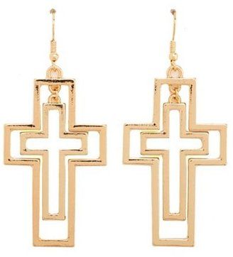 Charlotte Russe Double Cross Dangle Earrings