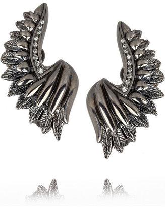 Roberto Cavalli Wing ruthenium-plated crystal clip ear cuffs