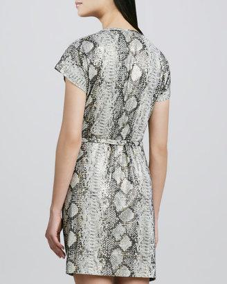 Grayse Snake-Print Draped Tie-Waist Dress