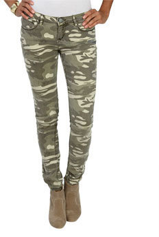 Wet Seal WetSeal Camouflage Print Skinny Jean Camouflage