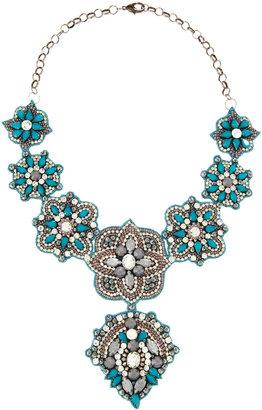 Deepa Gurnani Crystal and Resin Bib Necklace, Blue