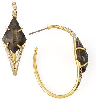 Alexis Bittar Miss Havisham Pyrite Doublet Hoop Earrings