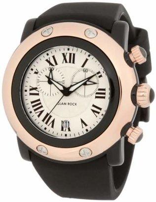 Glam Rock Women's GW25130 Miami Beach Chronograph Silver Dial Black Silicone Watch