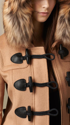 Burberry Detachable Fur Trim Fitted Duffle Coat