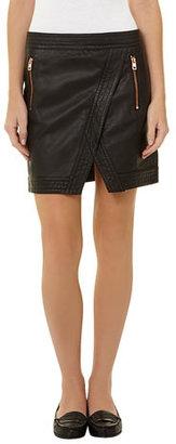 Dorothy Perkins Black leather look asymmetric skirt