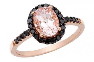 Ice 1.5 CT Morganite and Black Diamond 14K Pink Gold Ring