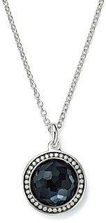 Ippolita Stella Lollipop Pendant Necklace in Hematite Doublet with Diamonds in Sterling Silver, 16