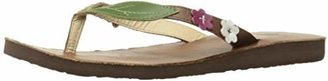 Scott Hawaii Women's Leather Honua Sandals | Pink and White Hibiscus Flower Strap Accents | Size 11
