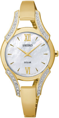 Seiko Modern Jewelry Womens Mother-of-Pearl Crystal-Accent Watch SUP216 $285 thestylecure.com