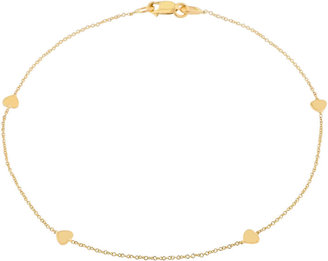 JCPenney FINE JEWELRY Made in Italy 10K Gold Heart Station Ankle Bracelet
