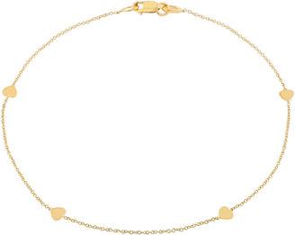 JCPenney FINE JEWELRY 10K Gold Heart Station Ankle Bracelet