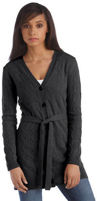 Lord & Taylor Cashmere Belted Cable-Knit Cardigan