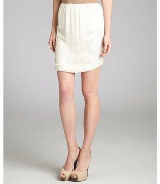 L'Agence white beaded silk bubble skirt