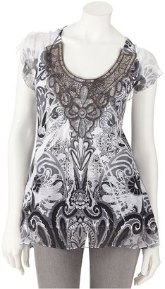 Apt. 9 scroll sublimation mixed-media top