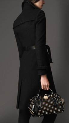 Burberry Long Leather Detail Wool Cashmere Trench Coat