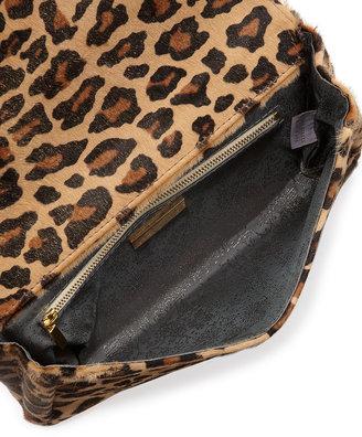 Lauren Merkin June Leopard-Print Calf Hair Clutch Bag, Camel/Gold