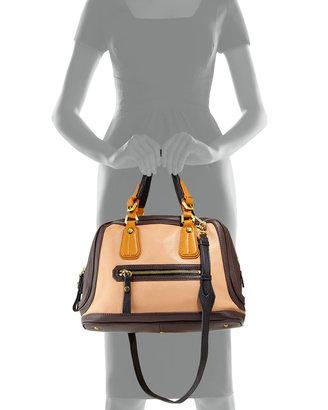 Oryany Kendall Tonal Leather Satchel Bag, Nude Multi