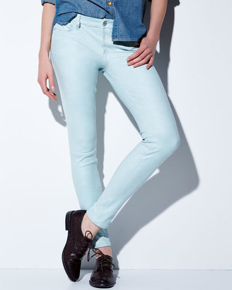 7 For All Mankind Leathery Denim Skinny Jeans, Mint