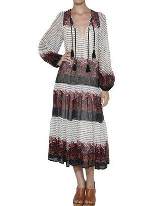 Mes Demoiselles Flowers Print Striped Cotton Long Dress