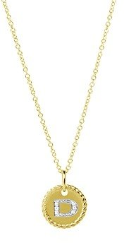David Yurman Cable Collectibles Initial Pendant with Diamonds in Gold on Chain, 16-18