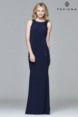 Faviana s8003 Long jersey dress with scoop neck and open back