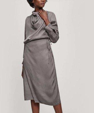 Low Classic Cowl-Neck Wrap-Dress