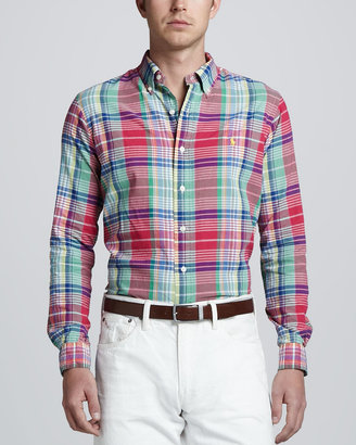 Polo Ralph Lauren Long-Sleeve Plaid Sport Shirt, Royal Pink