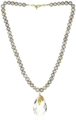 """Katie Waltman Jewelry """"Naturals"""" Silver Pearl and Clear Crystal Necklace"""