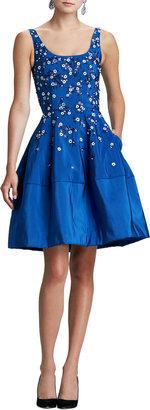 Oscar de la Renta Floral-Embellished Dress, Indigo