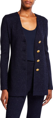 St. John Glimmer Ottoman Stripe Knit Jacket