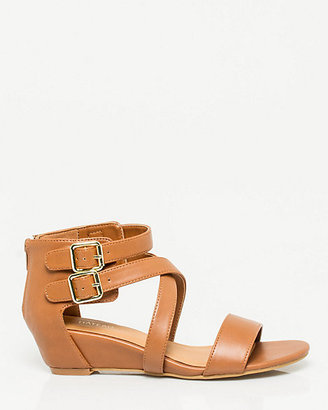 Le Château Faux Leather Strappy Wedge