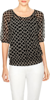 The Limited Printed Mesh Layering Blouse