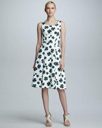 Carolina Herrera Clover-Print Scoop-Neck Dress, White
