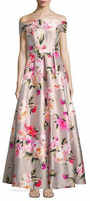 Eliza J Off-The-Shoulder Floral Ball Gown