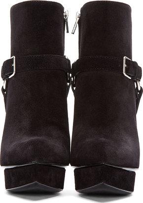 Saint Laurent Black Suede Janis Buckle Boots