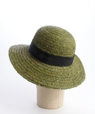 Hat Attack olive raffia and black band sun hat