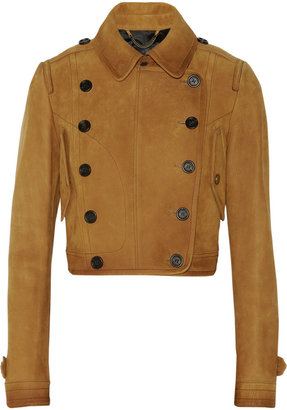 Burberry Cropped textured-leather jacket