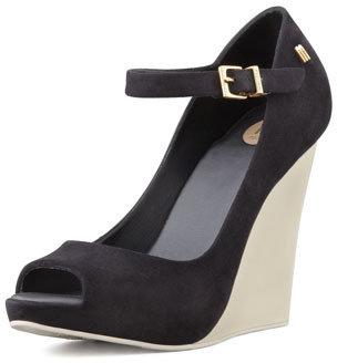Melissa Shoes Prism II Mary Jane Wedge, Black/Beige