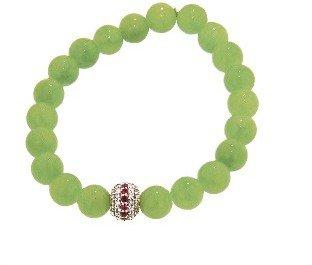 Sydney Evan Mala Bead with Rubies and Diamonds on Lime Green Jade - Yellow Gold